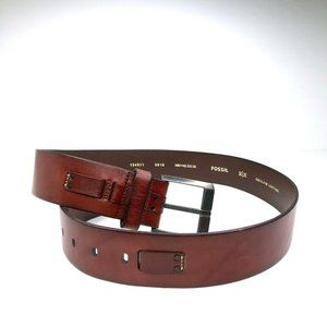 Fossil Brown Genuine Leather Belt Silver Buckle L